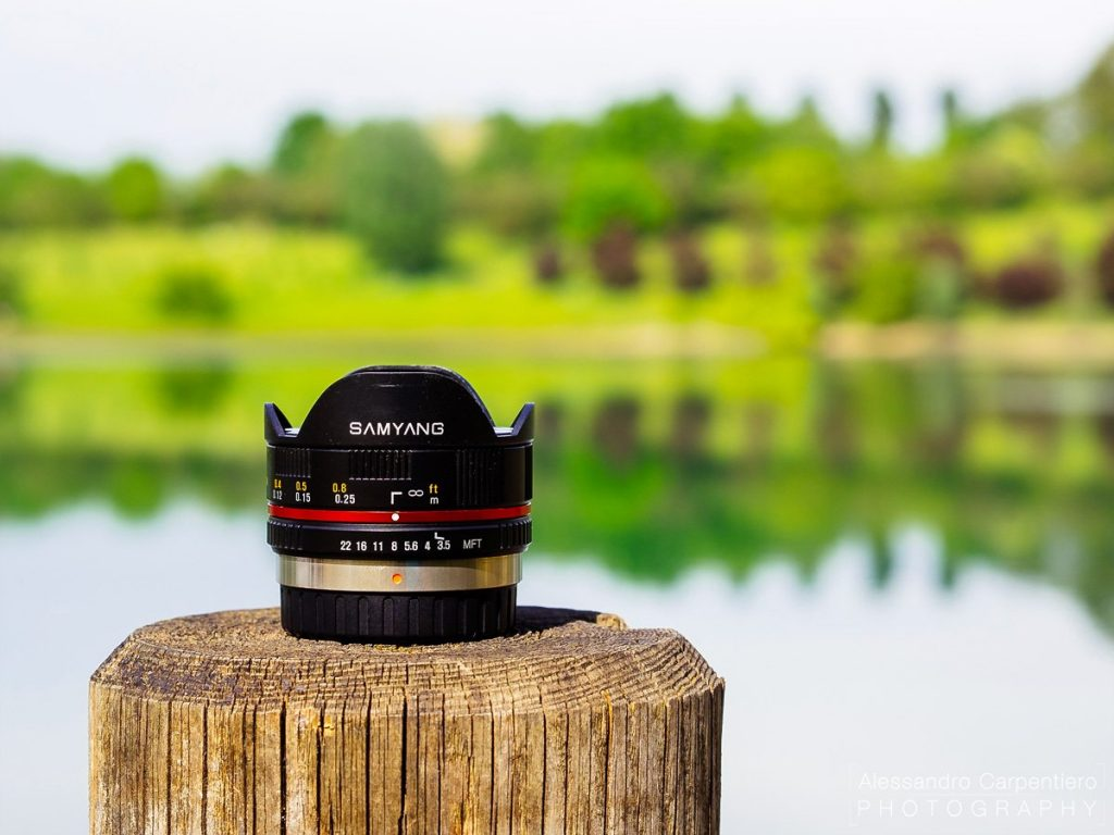 Samyang 7.5mm Fisheye Lens delivers an incredible viewing angle ad a cheap price. it's a fully manual lens with a good quality.