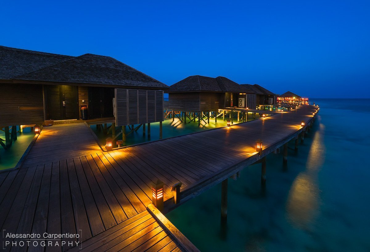 maldive villas at blue hour