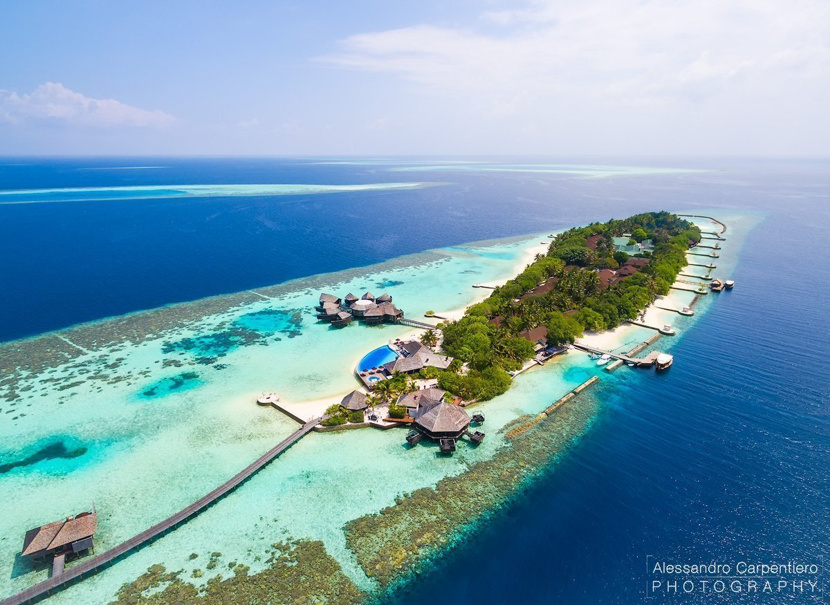 lily beach maldives aerial view