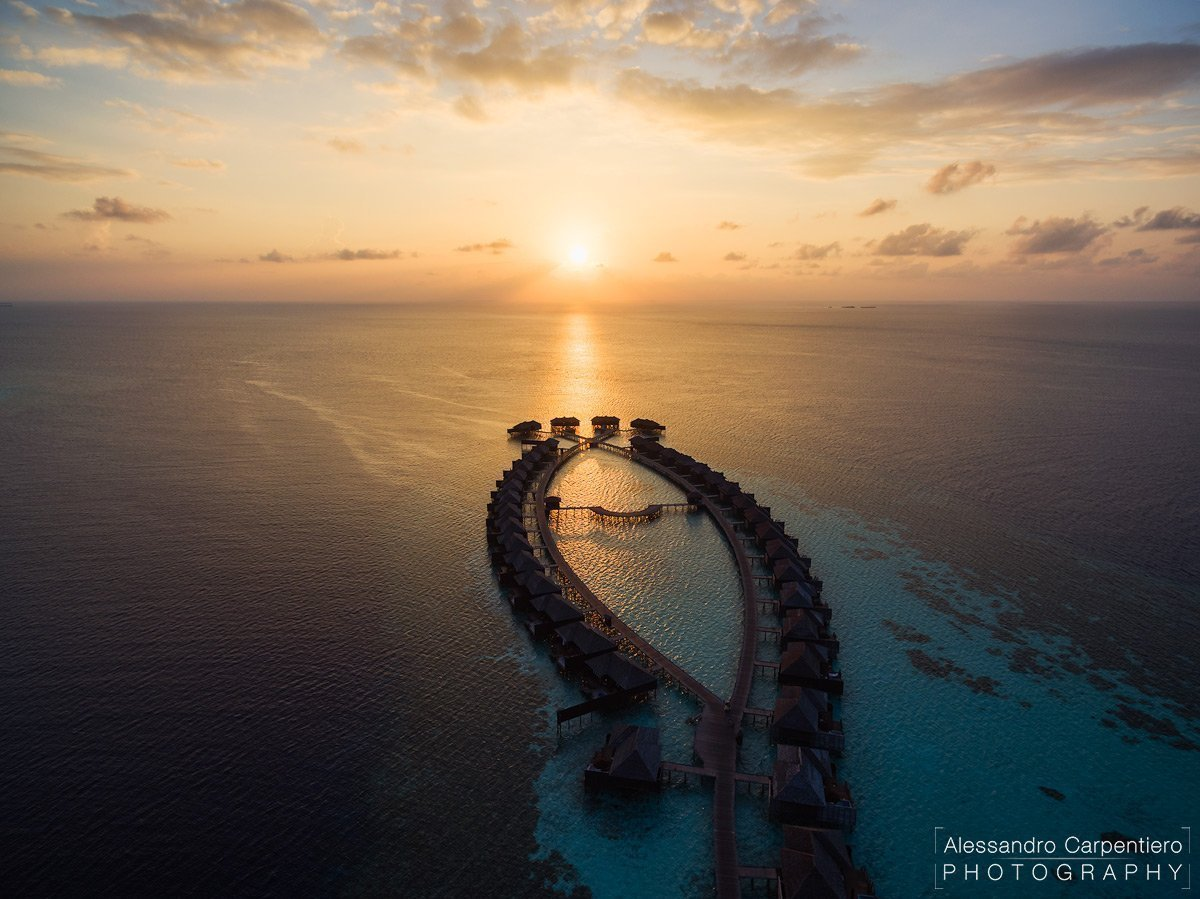 sunset in maldives resort