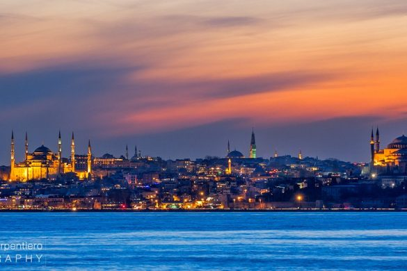 Sultanhamet (Blue Mosque) and Hagia Sophia photographed at the blue hour. A mix of colors, sea and city lights made it a perfect moment.