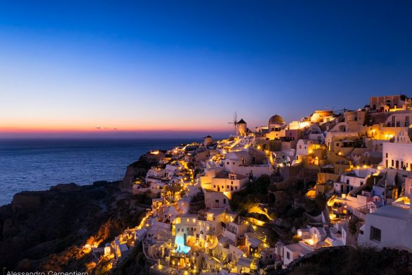 Sunset and blue hour at Oia, Santorini, Greece. Perfect place where to relax and watch a unique sunset