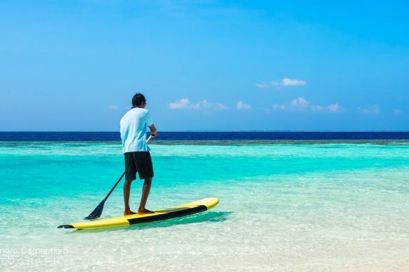 paddleboarding in Maldives